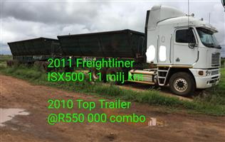2011 Freightliner ISX 500 with 2010 Top trailer combo