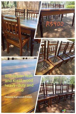 Rhodesian teak and kiaat wood 6 seater dining set