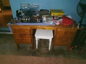 Wooden table with 6 drawers