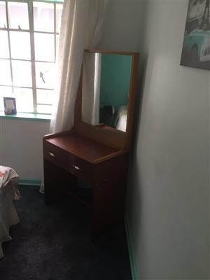 Corner wooden dresser with mirror