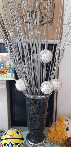 DECOR VASE WITH SILVER BRANCHES