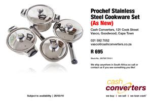 Prochef Stainless Steel Cookware Set (As New)