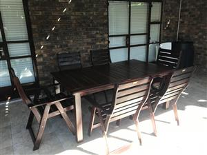 Solid Teak 6 Seater Outdoor Table and Chairs with Cushions