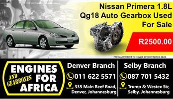 Nissan Primera 1.8L Qg18 Auto Gearbox For Sale