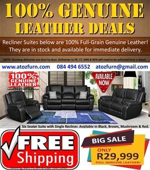PERILLI 100% FULL Genuine Leather Recliner Suite