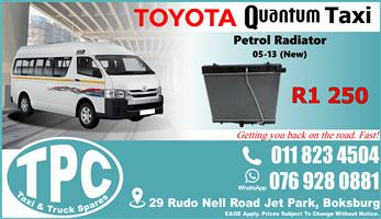 Toyota Quantum Petrol Radiator 05-13 - New - Quality Replacement Taxi Spare Parts.