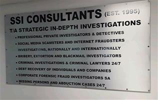 SSI CONSULTANTS T/A STRATEGIC IN-DEPTH INVESTIGATIONS(EST.1995) PROFESSIONALS SPECIALISTS PRIVATE DETECTIVES AND INVESTIGATORS IN GAUTENG KWAZULU  NATAL AND THE WESTERN  CAPE ALL HOURS 0824121149 WHATSAPP 0780071412 WWW.SSI-CONSULTANTS.CO.ZA CREDIT CARDS ACCEPTED
