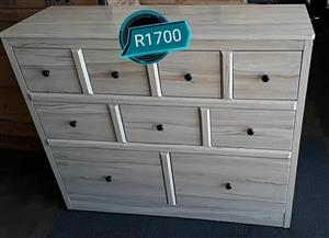 9 Drawer white wooden chest of drawers
