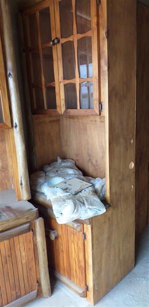Wood log wall unit