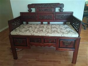 Classic Chinese bench with silk cushion