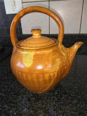 Light brown top handle teapot