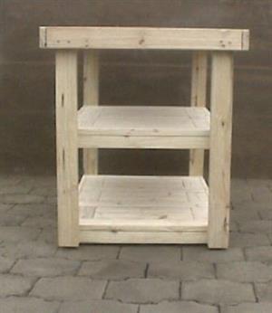 Kitchen Island Farmhouse series 1235 mobile with 2 shelves - Raw