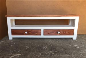 TV display unit Chunky Cottage series 1600 with drawers - Two tone