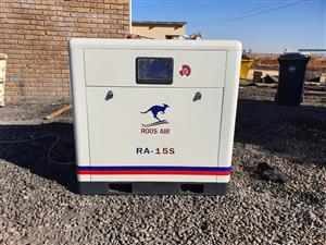 Screw Compressor, ROOS AIR, RA-15S, 15kW, 81CFM, 2.3m³/min
