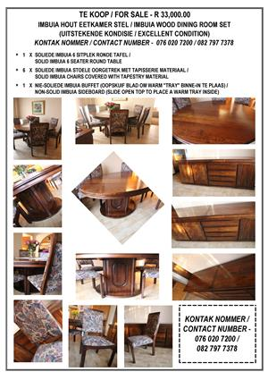 Imbuia Wood Dining room 6 seater set for sale