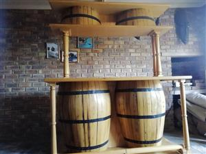 Solid Oak Barrel Bar counter
