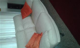 Beautiful White 3 piece Genuine Leather Lounge suite