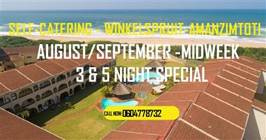 AUGUST /SEPTEMBER /OCTOBER - 3 & 5 MIDWEEK SPECIAL OFFER-2 BED-SELF-CATERING-WINKELSPRUIT-AMANZIMTOTI-ON THE BEACH-GROUND FLOOR - 24 HR SEC