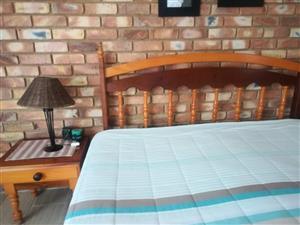 Yellow wood & Imbuia wood bedroom set