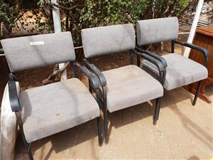 3 Grey waiting chairs for sale