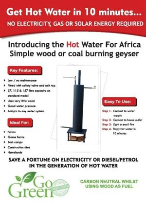 Wood Burning Water Heater/Geyser