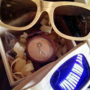 wooden sunglasses and watches