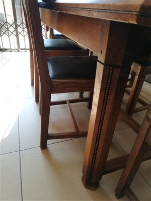 Dining room table and 6 chairs, solid oak