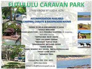 Affordable Camping, Self-catering chalet and Backpackers Holiday accommodation available