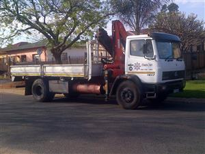 8 Ton Mercedes Benz Truck with Drop sides and crane for hire.