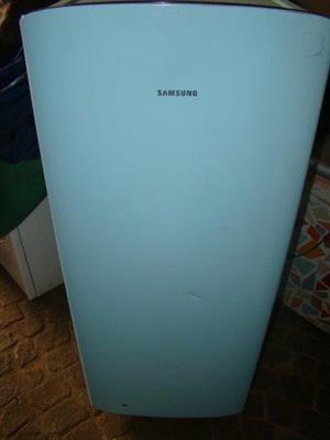 Samsung Blue fridge with small freezer inside