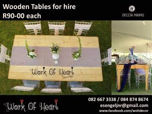 WOODEN TABLES FOR HIRE R90