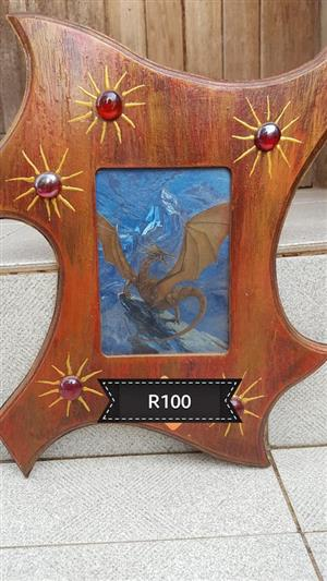 Wooden framed dragon painting for sale