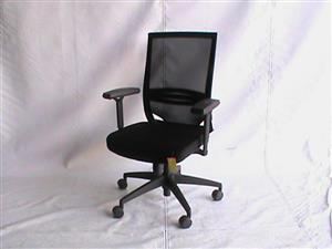 Black netted fabric medium back chair