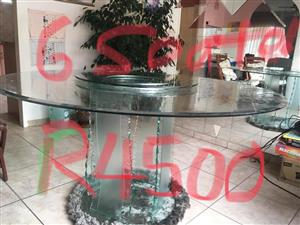 6 Seater glass dining set