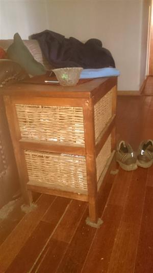 WOODEN CANE DRAWER SIDE TABLE