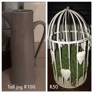 Tall jug and cage ornaments