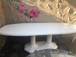 Patio / Outdoor large fibreglass table and chairs
