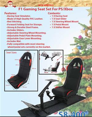 F1 GAMING RACING SEAT SIMULATOR WITH STEERING, SHIFTING AND PEDAL MOUNTS - R200 COURIER IN SA