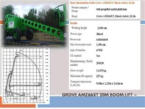 CHERRY PICKER - GROVE 20M BOOM LIFTS FOR HIRE/SALE