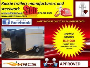 Sputnik trailer for sale door at back and on side 900kg axle  sabs approved
