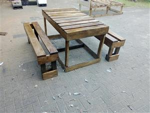 Wood Korpp furn. Table and benches special
