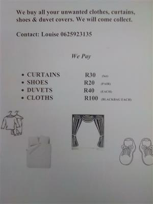 Second hand clothes wanted