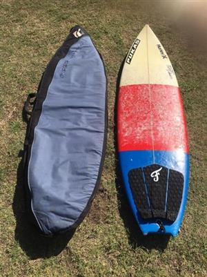 "Pukas 6""1 surfboard+bag for sale"