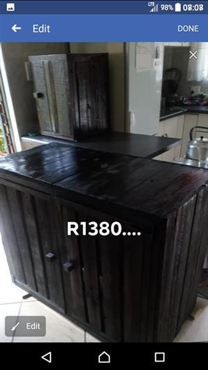 Dark wooden 2 door kitchen cabinet