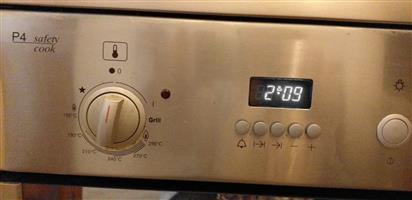 Silver Bosch 5 burner gas oven