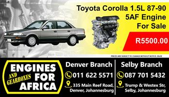 Used Toyota Corolla 1.5L 87-90 5Af Engine For Sale