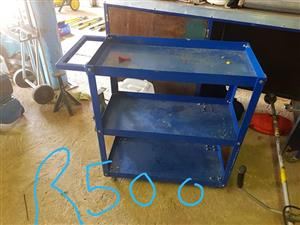Blue 3 tier working tool trolley