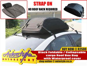 Black Foldable - Collapsable cargo Roof Box Bag with Waterproof cover  (Strap on, No Roof Rack Required)