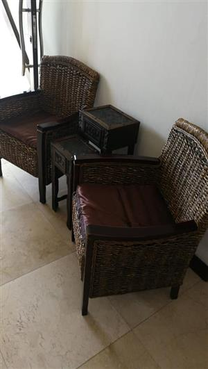 2 Chairs And 2 Decor Tables For Sale.