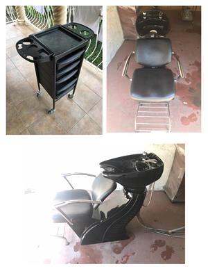 Salon hair washbasin and chair combo plus hairdresser trolley